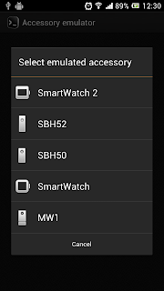 "Open Accessory Emulator, Select ""SmartWatch"""