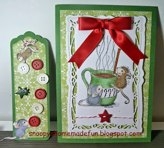 Christmas Card House Mouse Buttons and Bows