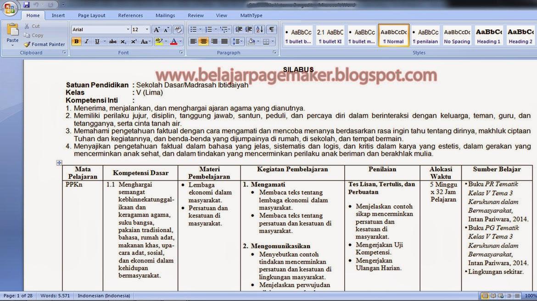 Belajar Pagemaker: Contoh Pengerjaan Silabus menggunakan