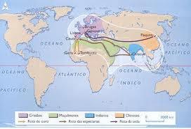 mapa atual com rotas do século XV