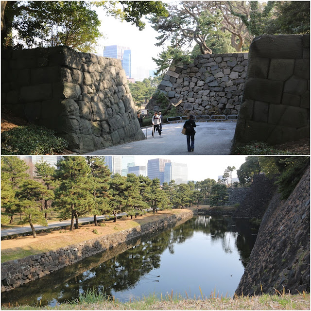 Restoration Shiomi-zaka Slope used to connect Honmaru (inner citadel) to Ninomaru (second citadel) with embankment at Imperial Palace East Garden in Tokyo, Japan