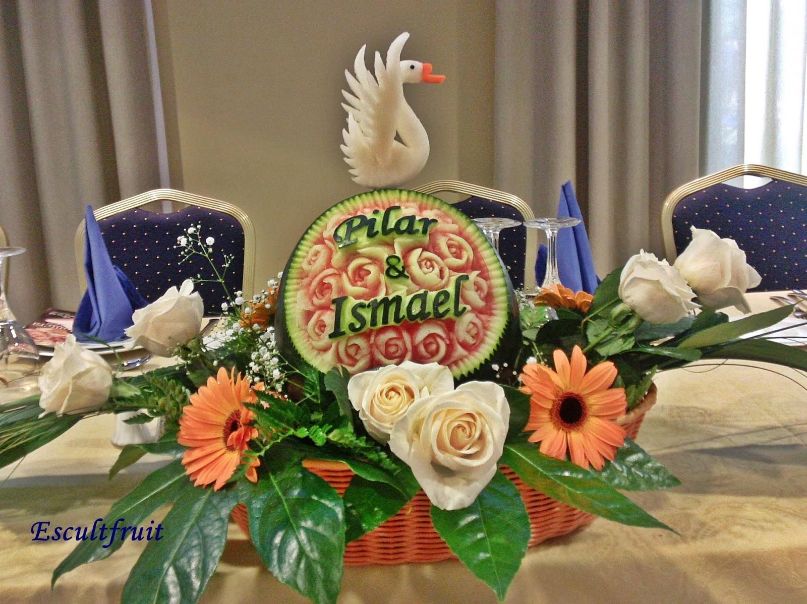 Tallado de frutas y verduras bodas - Adornos de frutas para mesas ...