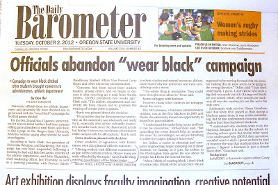 Headline Officials abandon wear black campaign Barometer, Oct. 2, 2012, p. 1