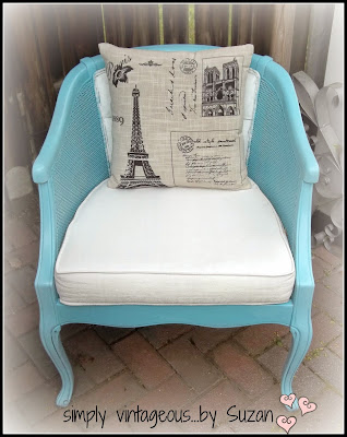 diy painted blue chair