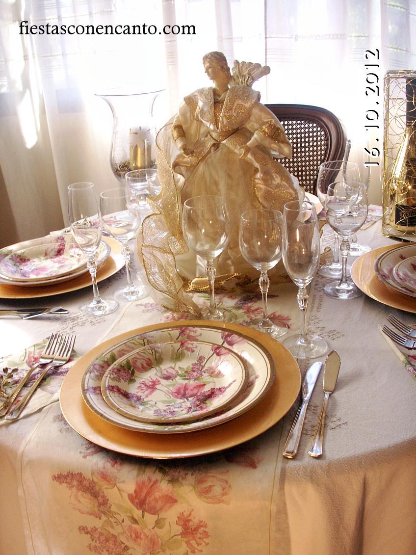 Decoraci n mesa navidad dorada - Decoracion de mesa navidena ...