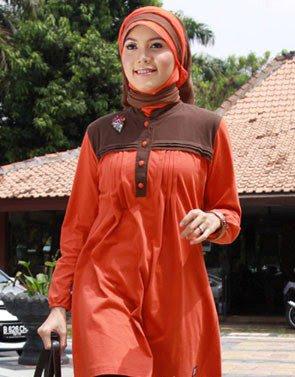 Zenitha Koleksi Busana Muslim Ukuran Big Size orange coklat tua