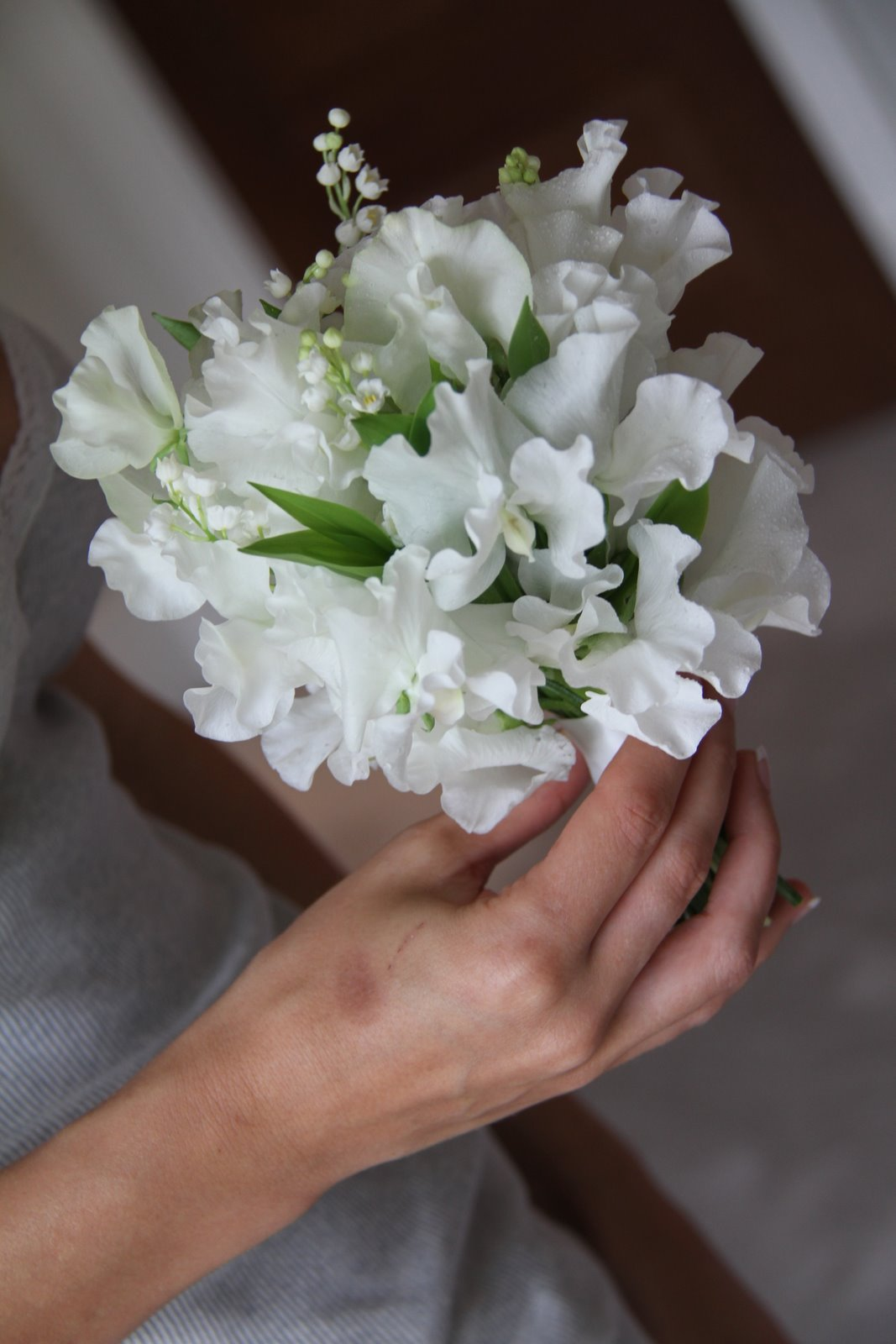 Flower design beautiful bridesmaids bouquets sweet peas lily sweet peas lily of the valley for flower girls bouquets dhlflorist Choice Image