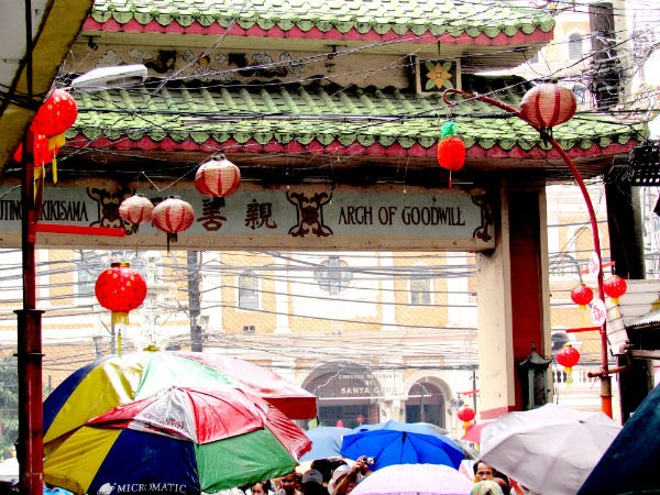The Filipino-Chinese Arch of Goodwill located at the start of Ongpin St., Binondo, Manila near the Sta. Cruz Church