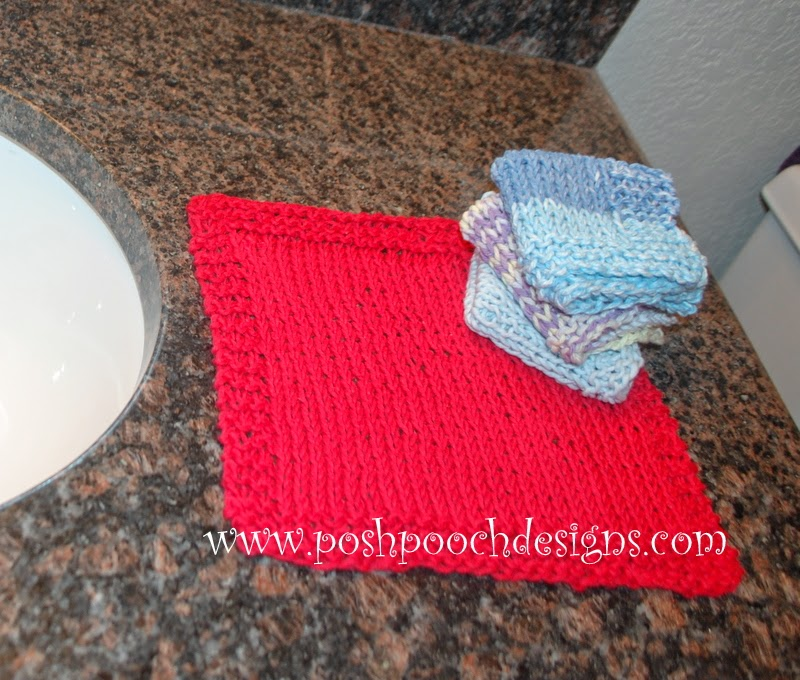Knitted Wash Clothes Free Patterns : Posh Pooch Designs Dog Clothes: Washcloth Pattern - Free Knitting Pattern for...