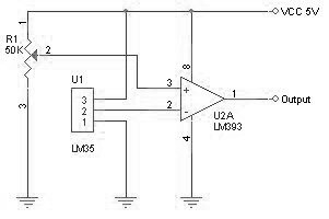 Battery Charger Temperature Sensor circuit with LM35