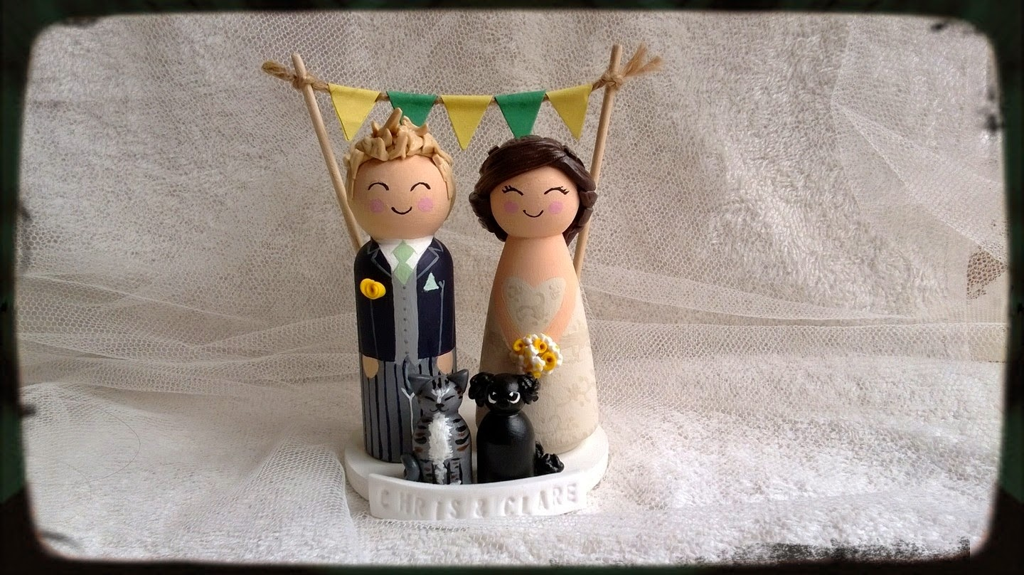 These Are Our Latest Make Of Wood And Clay Peg Wedding Cake Toppers First Creation Pets In This Category