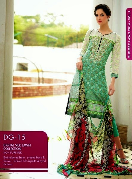 Gul Ahmed Pakistani Green Dresses
