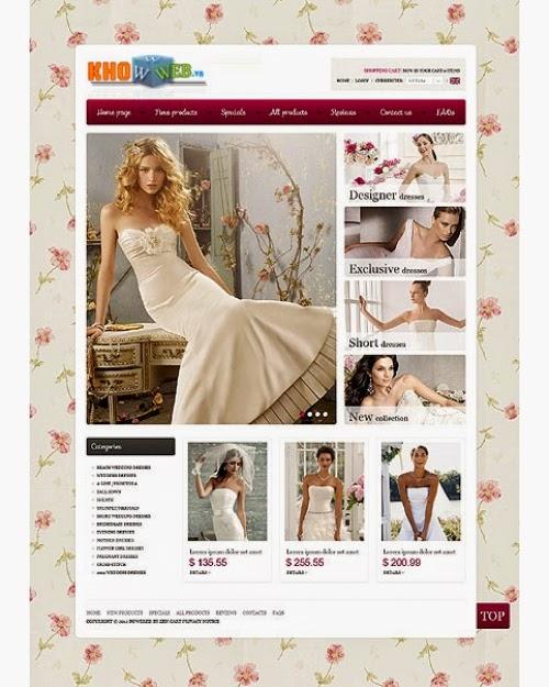 thiết kế website bán hàng váy cưới đẹp