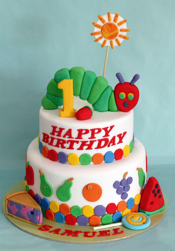 Cake Designs 1st Birthday : butter hearts sugar: Very Hungry Caterpillar Cake and Cookies
