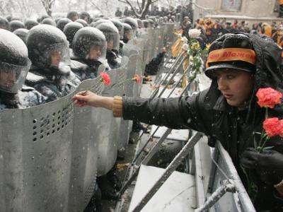 Ikke-vold, blomster mod politi - 'Flower power'