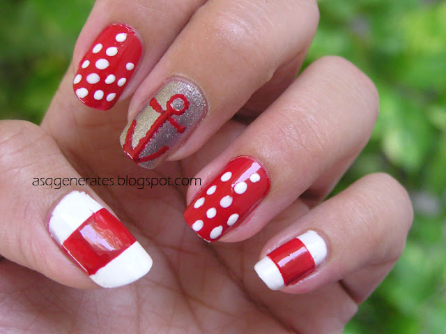#Bloggers Do Theme:Nautical Nail Art final look