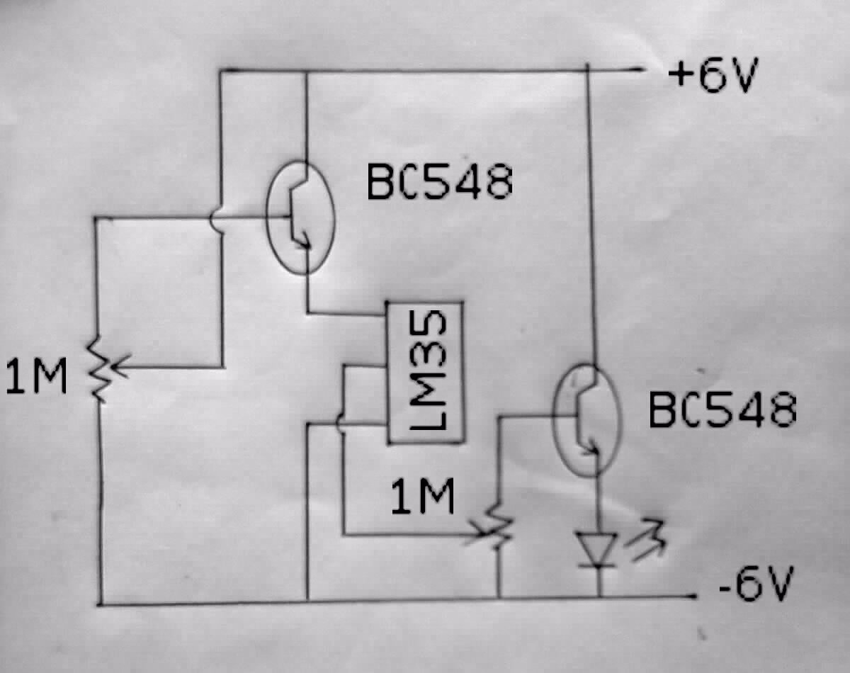 Electronic Project Idea Over Heat Indicator Temperature Circuit The Following Is A Using Lm35the Led Used To Get Direct Indication Of Level Sensed By Lm35