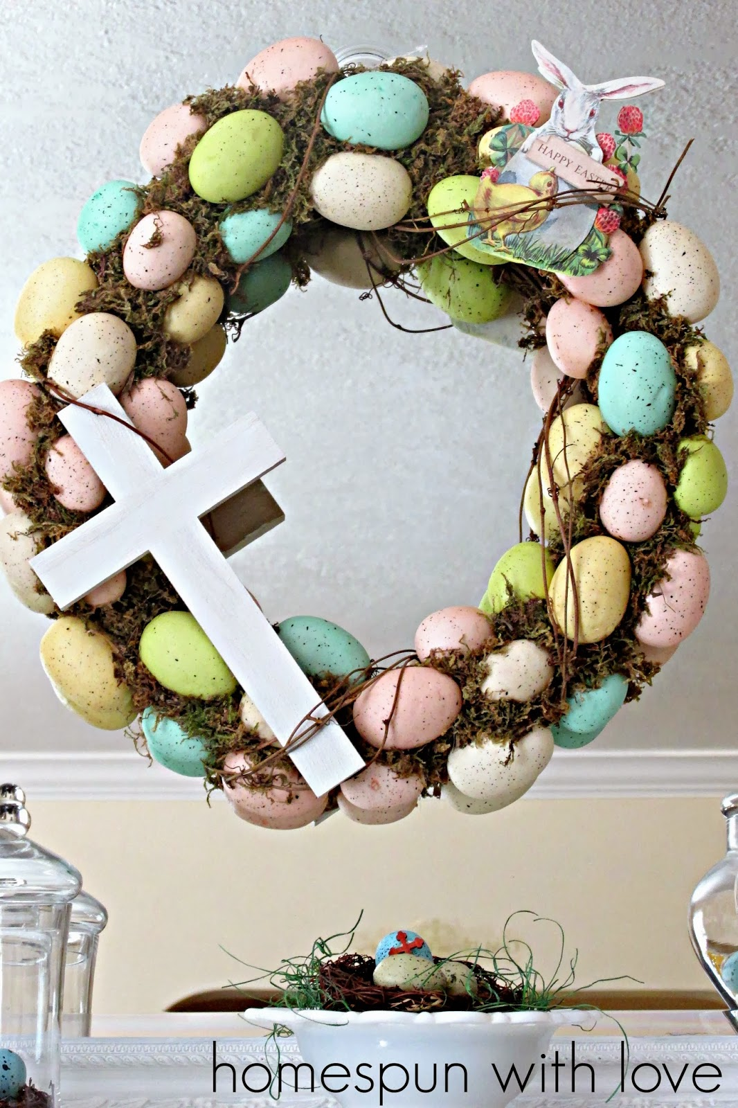 We Painted The Wood Cross White And Tucked It Into Egg Wreath Like That Is Not Permanently Fixed To So Can Use