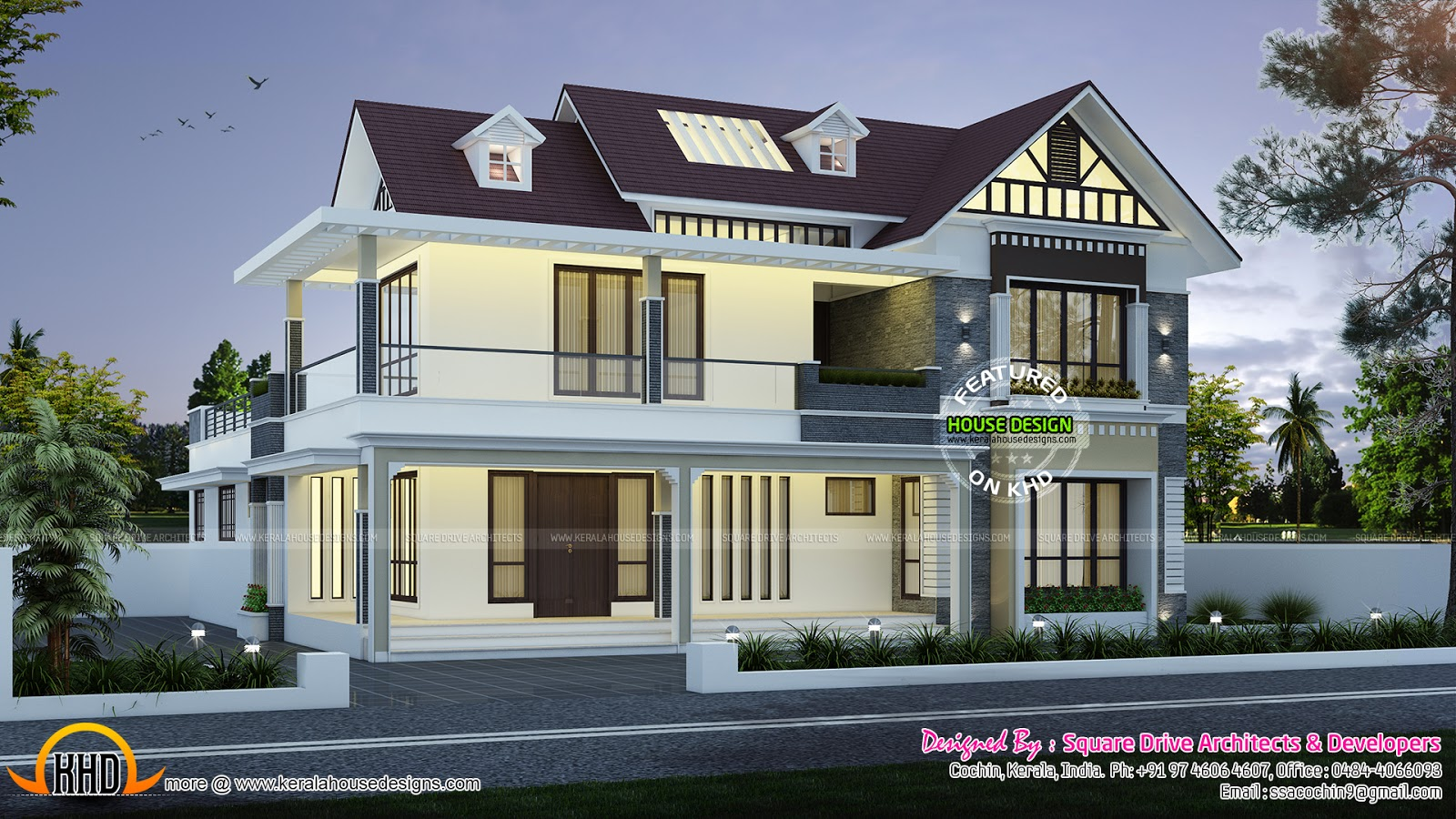 Cute dormer window house plan kerala home design and floor plans - House plans dormers ...