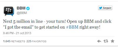 Hoy ha sido un gran día para BlackBerry, Con el lanzamiento de BBM para iOS y Android se ha podidoobservar que muchos usuarios estaban esperando con ansias la aplicación la cual fracaso en su primerlanzamiento debido a la gran ola de descargas por parte de los usuarios. BlackBerry aprende de sus errores, El lanzamiento de BBM el día de hoy fue un éxito total y muchosusuarios ya están disfrutando de la aplicación desde sus dispositivos con iOS y Android. Debido a la gran ola de usuarios BlackBerry se pronuncio en Twitter desde la cuenta de @BBM Pienso que será interesante