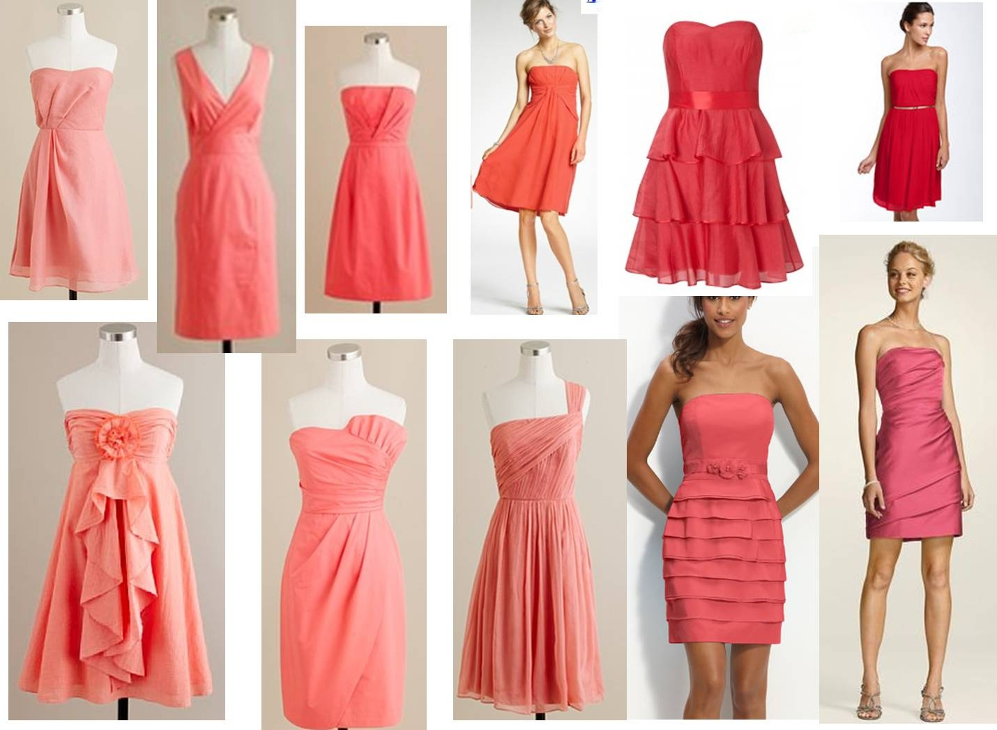 wedding wednesday mismatched coral coral dresses for wedding Pinky coral in color 2 Knee length 3 Sleeveless or strapless 4 Not jersey knit 5 Not slutty 6 Something you feel comfortable and pretty in