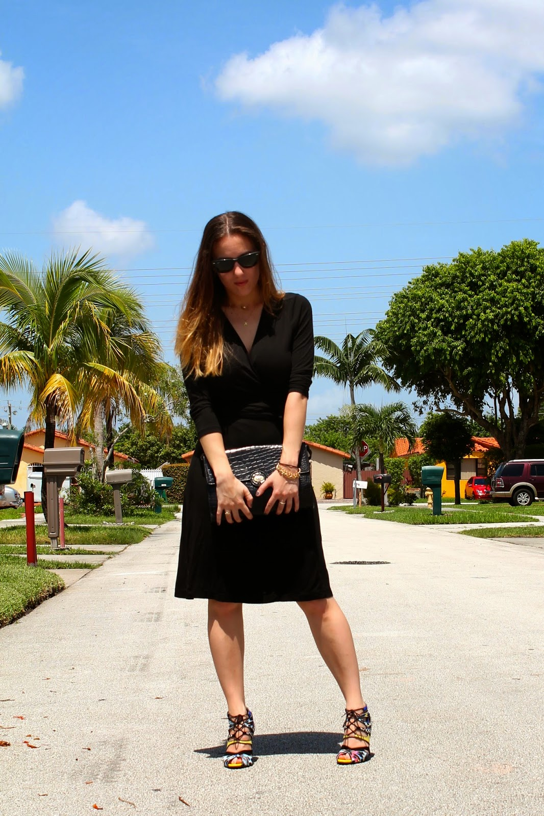 Zara, Banana Republic, vintage, Ray-Ban, wrap dress, LBD, classic, prep, Miami, Miami fashion, Miami fashion blogger, street style, blogger style, ootd, fashion blog, style blog