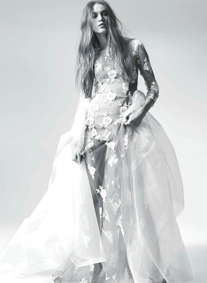 Jenia Lerokhina wearing Blumarine dress in A light veil / D la Republica May 2014 (photography: Johan Sandberg, styling: Roberta Rusconi) via fashioned by love british fashion blog