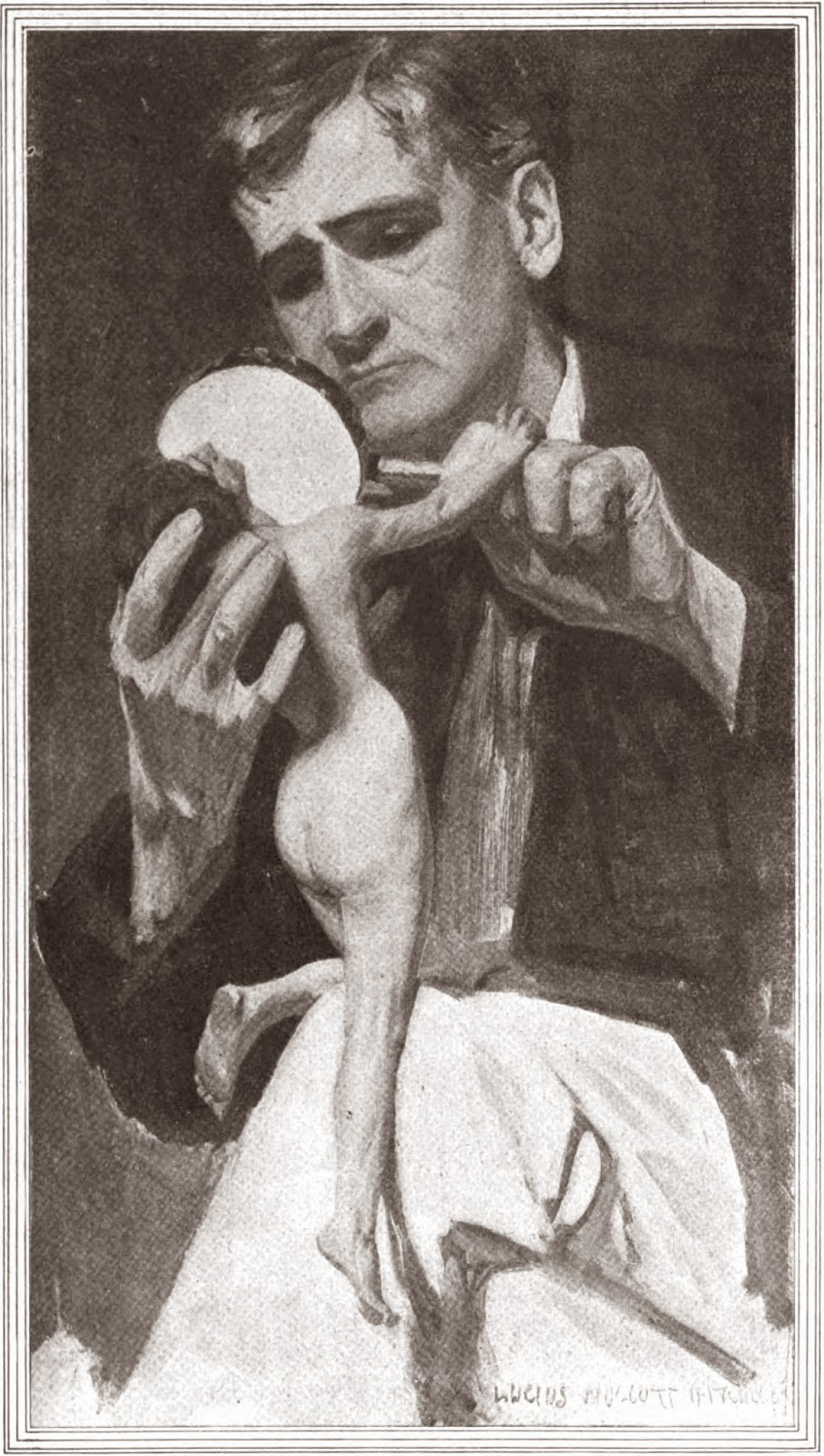 Interior Illustration (black and white) by Lucius Wolcott Hitchcock for In the Grass by Gouverneur Morris