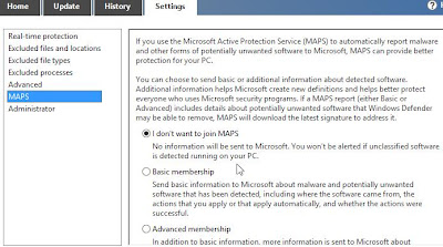 Setting Konfigurasi Windows Defender di Windows 8 step 4