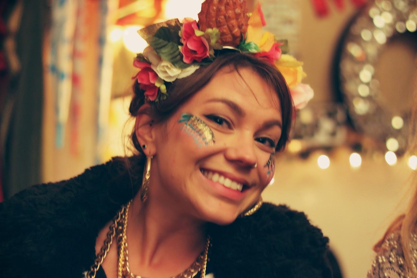 glitter, tropical, festival style, face paint, Shambala