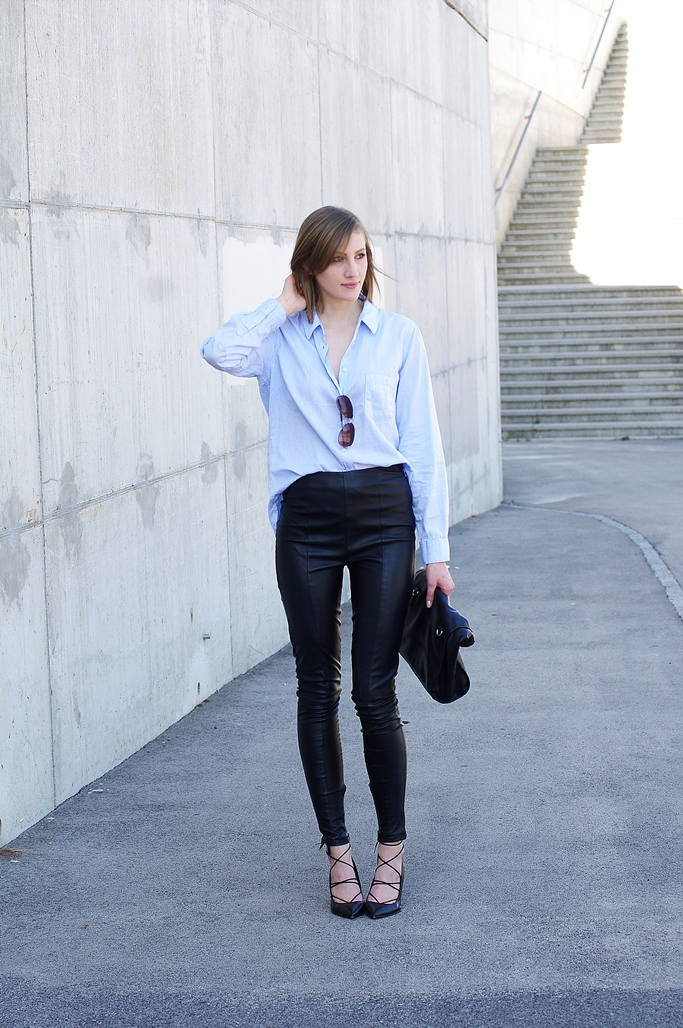 blue shirt outfit, trendy, fashion 2015, leather pants outfit look