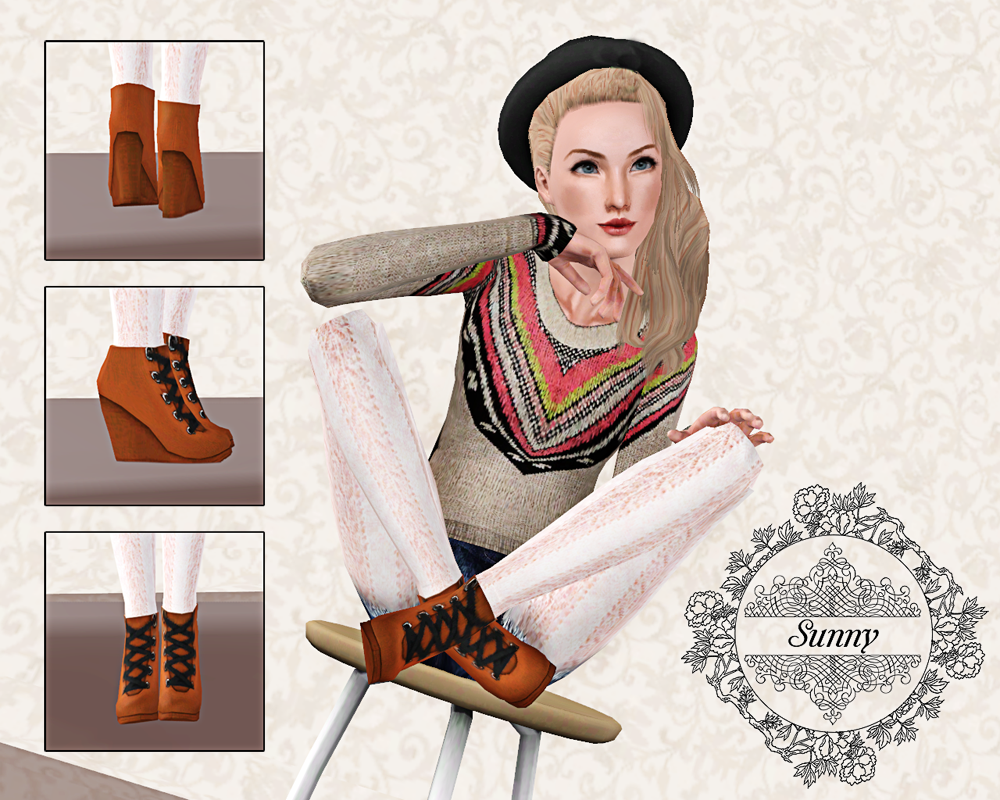 Wedge high heel boots by Sunny
