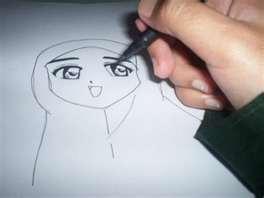 menggambar kartun akhwat