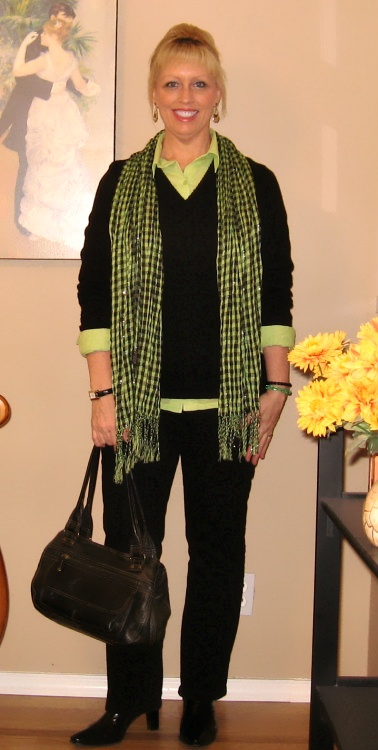 lime green and black outfit