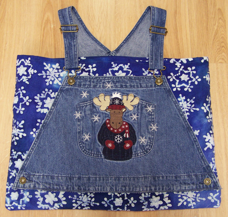 Denim Bib Overall Jeans Tote Book Craft Bag Purse Reindeer & Snowflakes