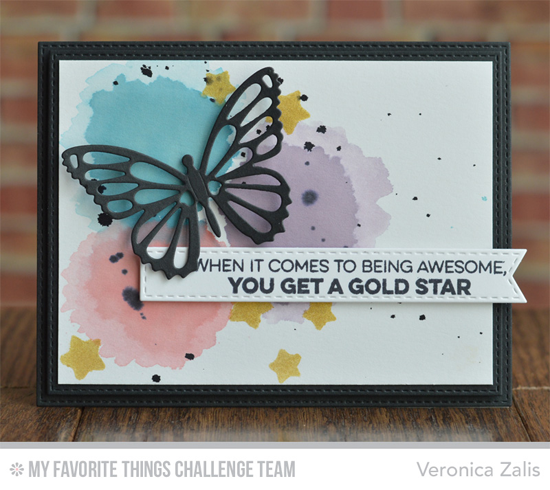 Gold Star Butterfly Card by Veronica Zalis featuring the Laina Lamb Designs Count the Stars stamp set and Flutter of Butterflies - Lace Die-namics #mftstamps