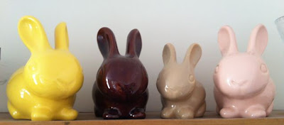 vintage pastel ceramic bunnies