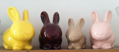 vintage pastel ceramic bunnies