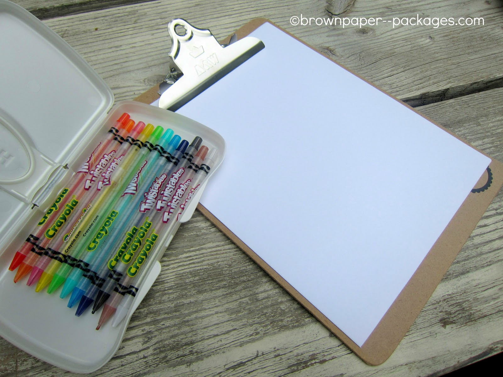 clipboards + wipes cases = easy coloring kits for kids} - Old Salt Farm