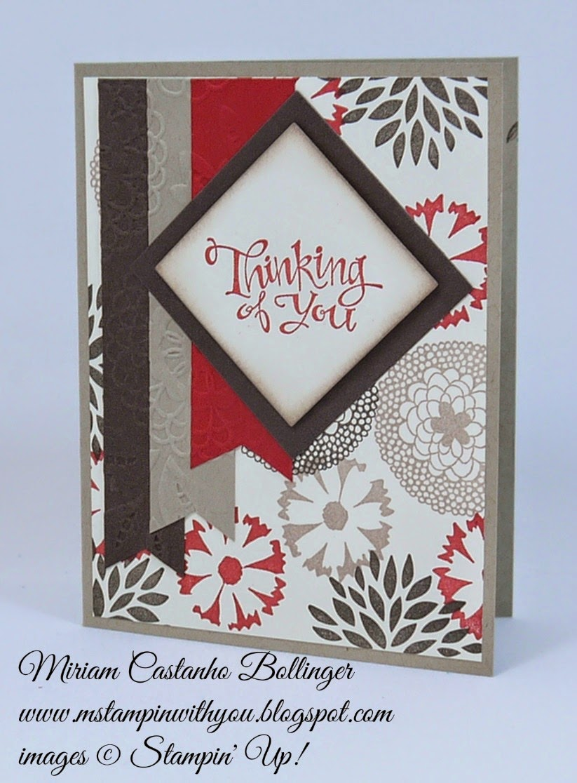 Miriam Castanho Bollinger, #mstampinwithyou, stampin up, demonstrator, fms 171, sassy salutations, big shot, squares collection, lovely lace tief, su