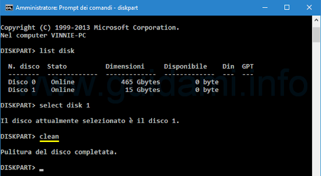 Windows Prompt dei comandi diskpart clean