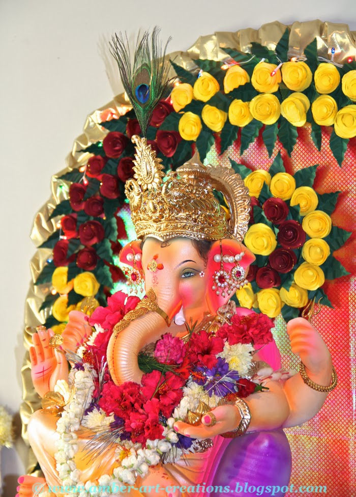 Amber art creations arts crafts and diy projects for Artificial flower decoration for ganpati