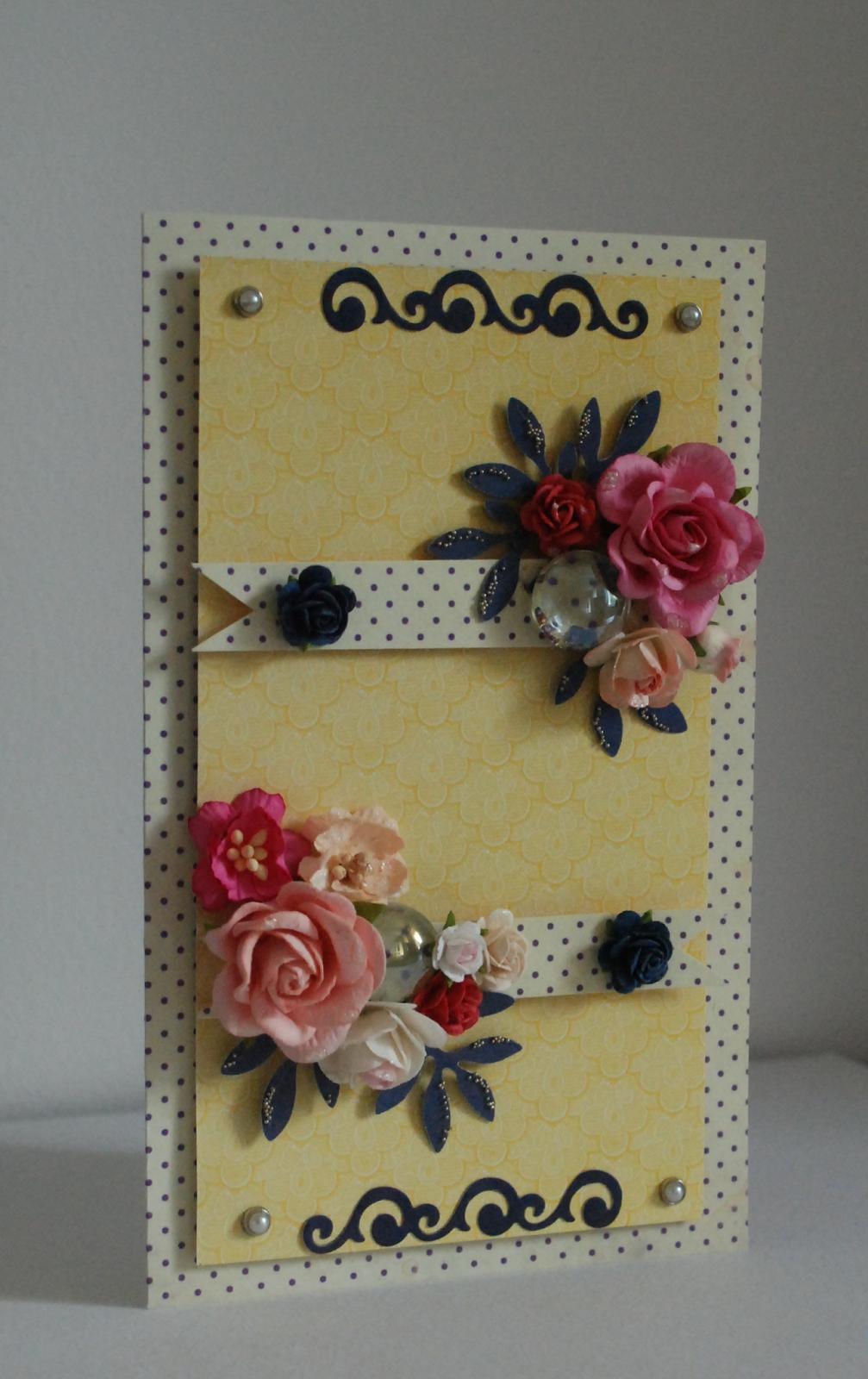 kartka imieninowa, groszki i kwiaty