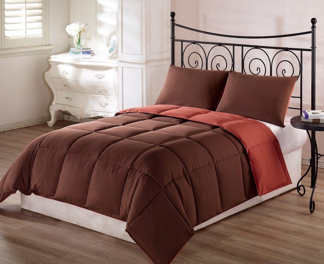Brown and orange bedding - Brown And Burnt Orange Bedding 3 Pc Solid Comforter Set