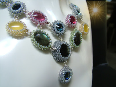 Detailed view of Beaded Gemstone Cabs in Necklace