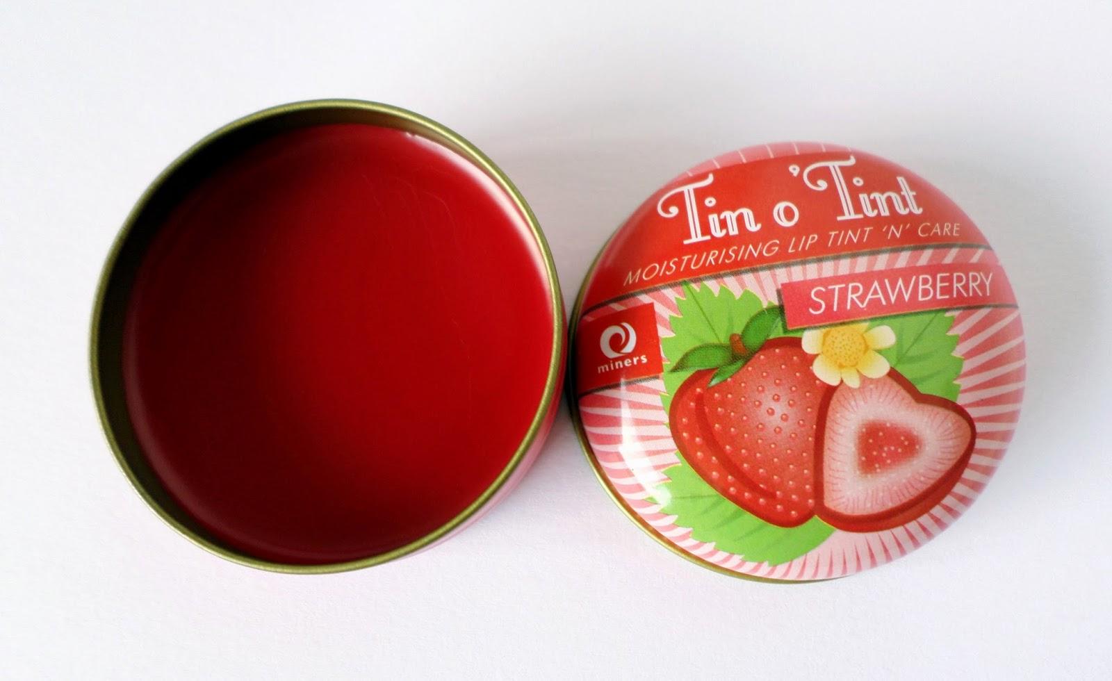 Miners Cosmetics Strawberry Tin o' Tint Tinted Lip Balm