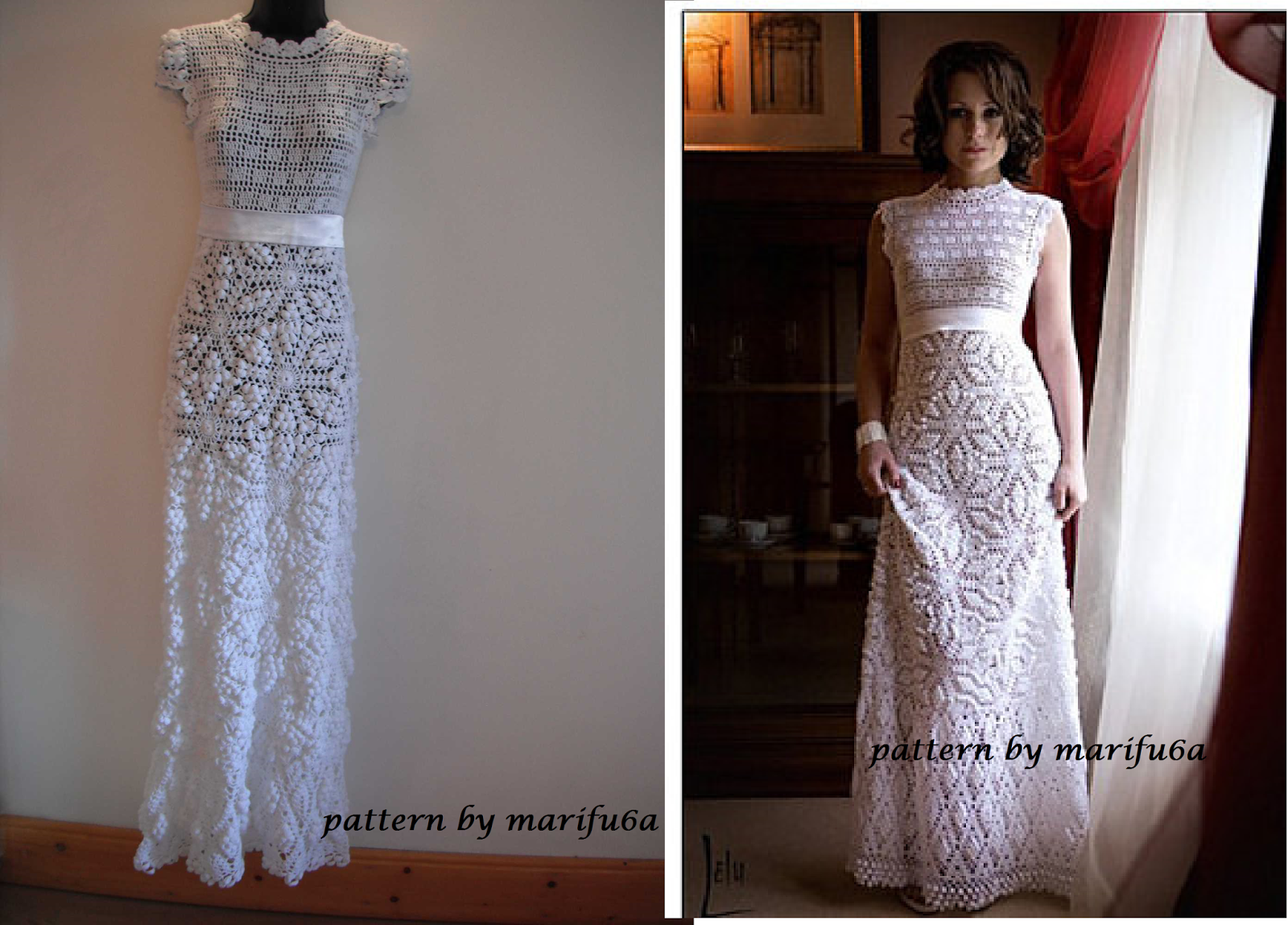 Free crochet patterns and video tutorials how to crochet for Crochet wedding dress pattern