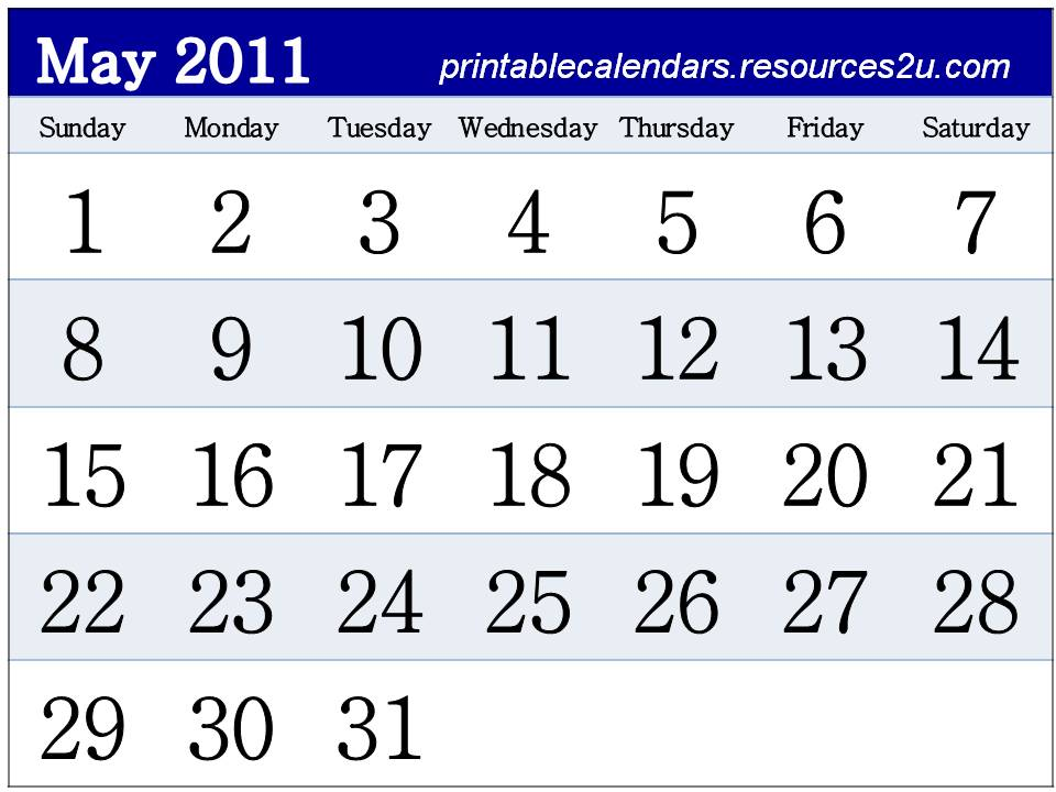 downloadable calendar 2011. Downloadable Calendar 2011 May