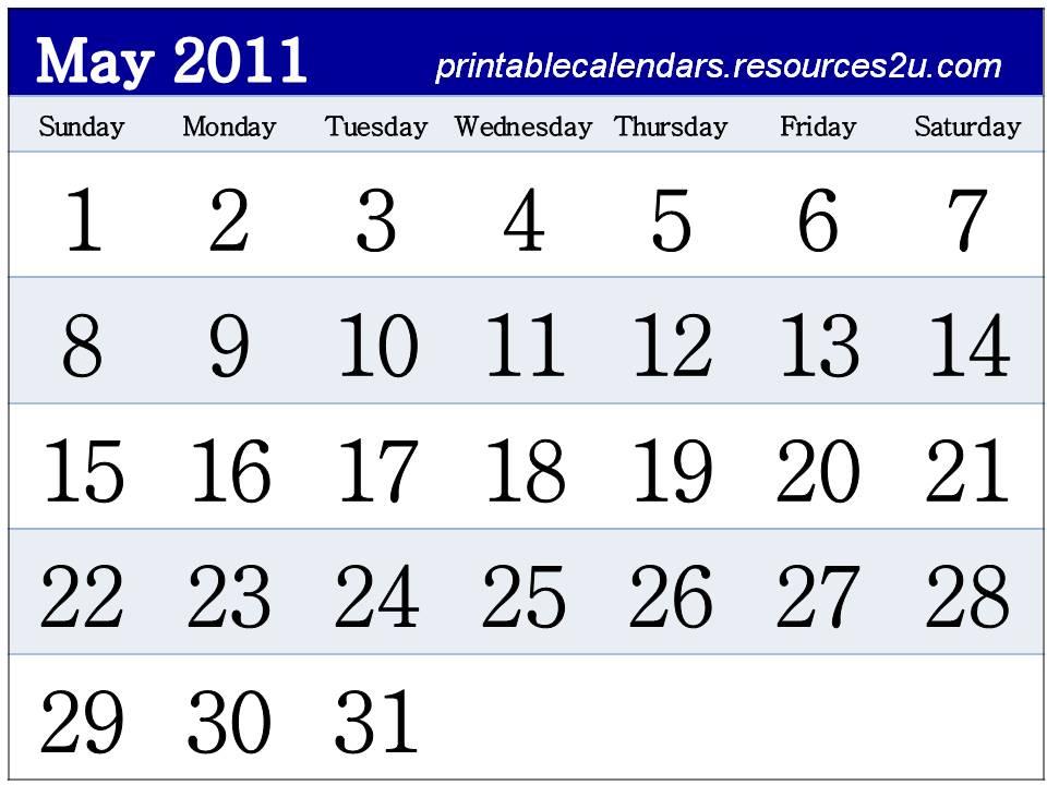 printable may calendar 2011. Free May 2011 Calendar
