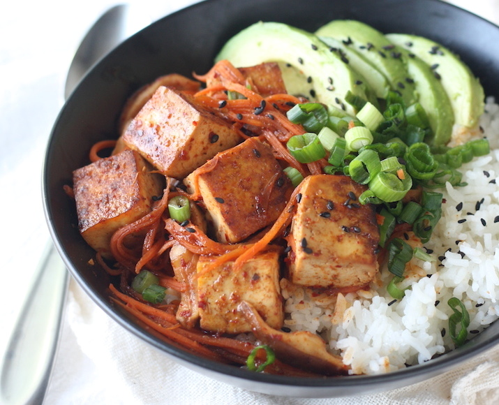 Spicy korean rice bowl with tofu and shiitake mushroom recipe